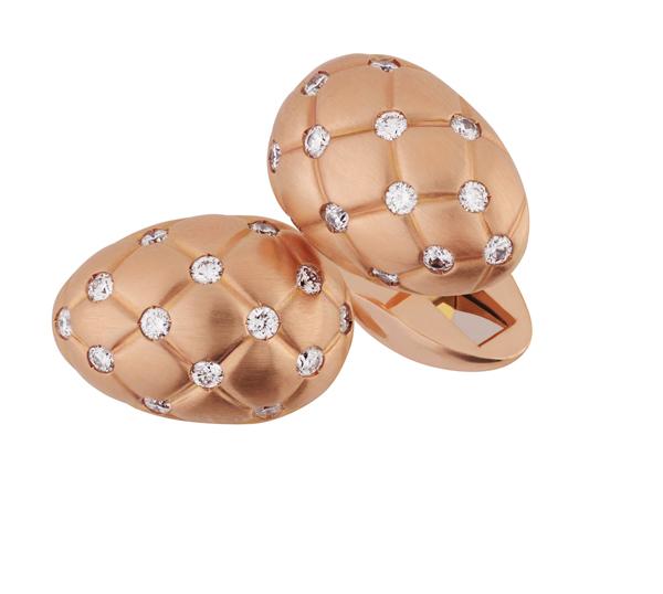 Boutons de manchette Or Rose matelassé Fabergé