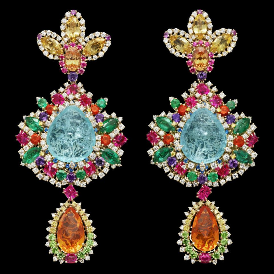 "Boucles d'oreilles Dear Dior ""Dentelle Chantilly Multicolore"""