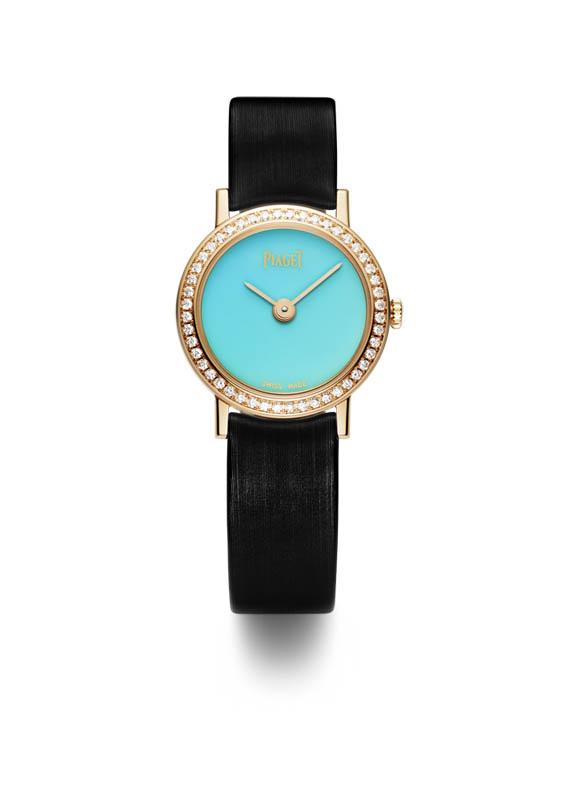 Altiplano 24mm Cadran Pierre Dure en or rose sertie de diamants, cadran en turquoise, mouvement quartz