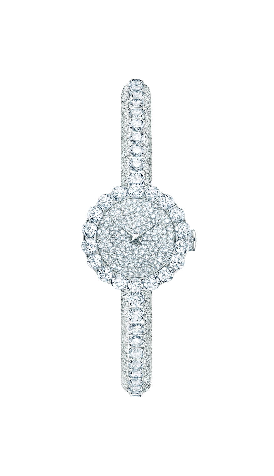 La mini  D de Dior «HAUTE JOAILLERIE» 21 mm quartz - Or blanc et diamants
