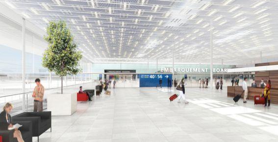 Le nouveau bâtiment transparent, temple des commerces et des services, reliera Orly Ouest et Orly Sud
