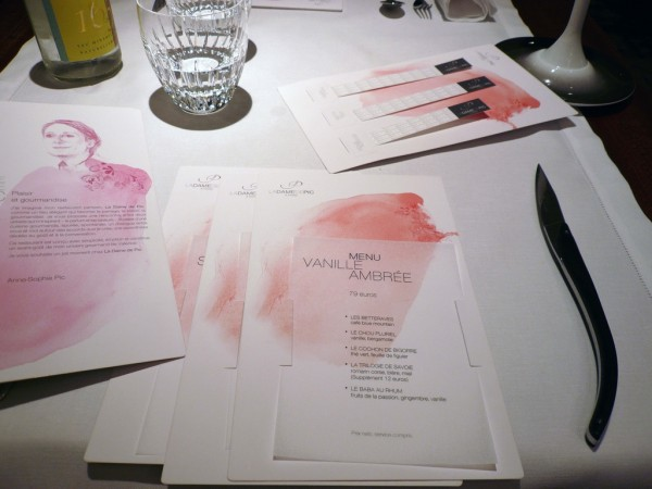 menus de la Dame de Pic