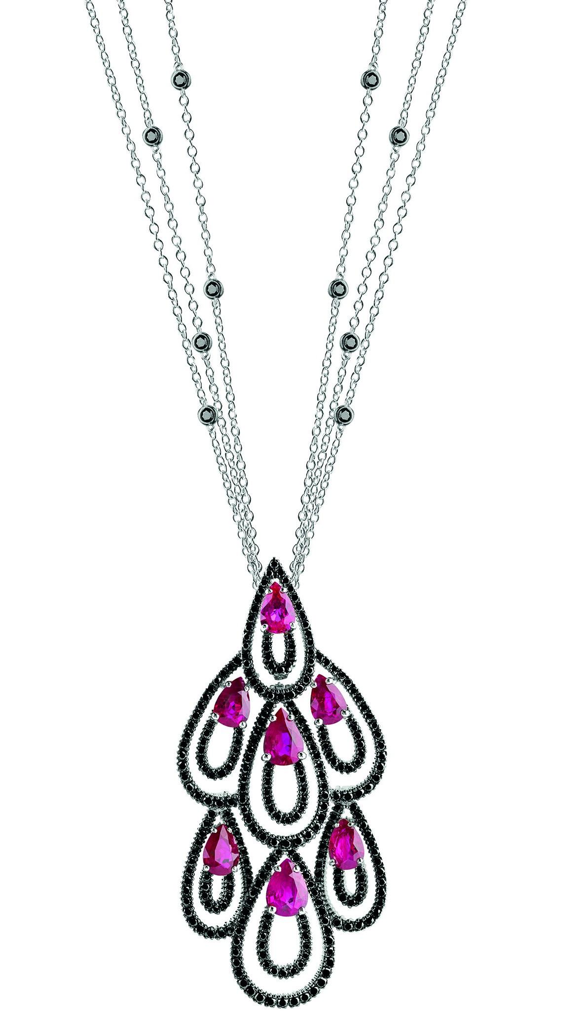 Damiani - Drip Drop masterpiece - white gold pendant with black diamonds and rubies