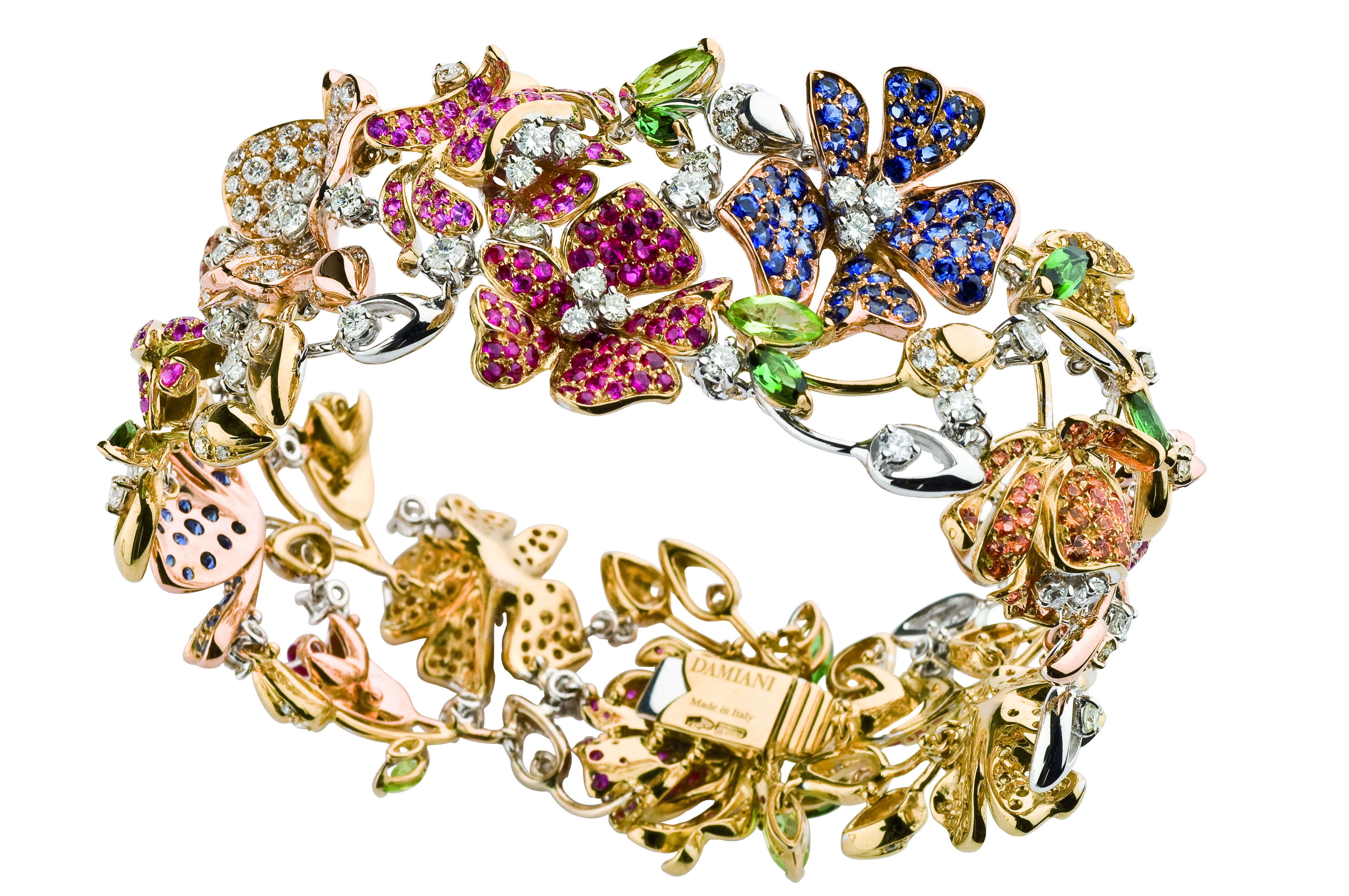 SPRINGTIME bracelet, gold diamonds, pink sapphires, peridots, tourmaline,citrine 2