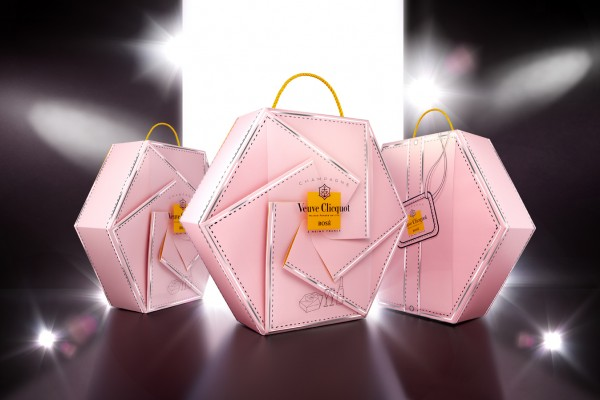 Veuve Cliquot rose couture ambiance 3 coffrets
