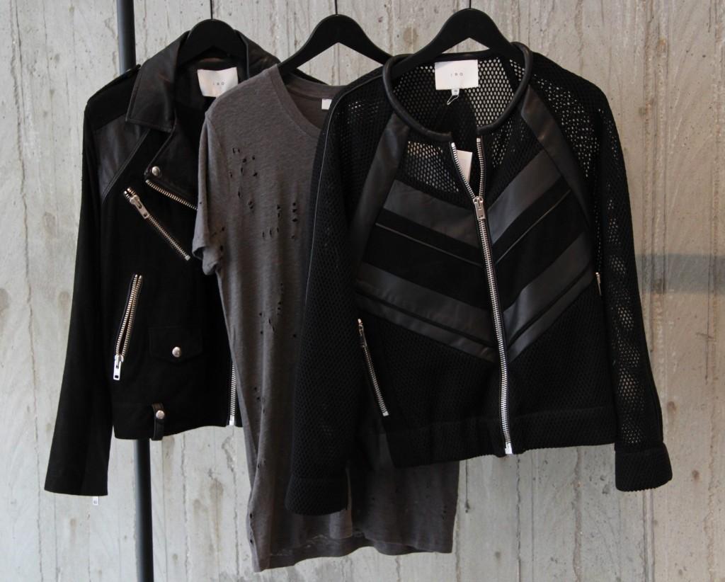 Perfecto 745 euros, Tee shirt 90 euros, Blouson 555 euros