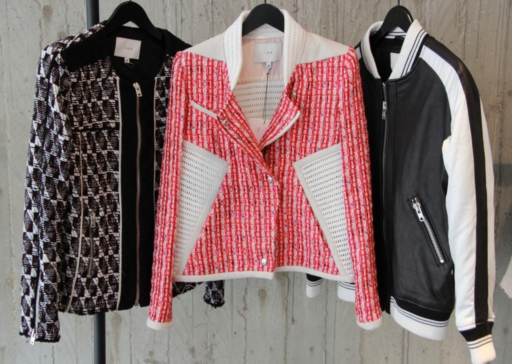 perfecto rouge et blanc 565 euros, teddy noir et blanc 695 euros et veste tweed 465 euros