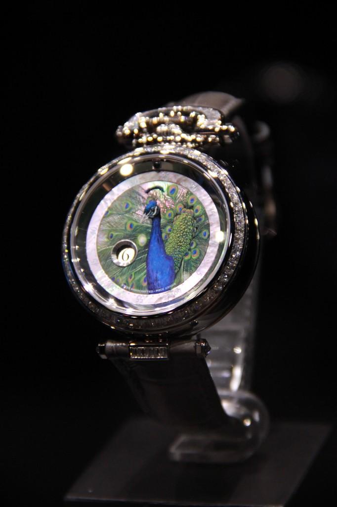pièce unique, Paon, peinture mianiature, faite pour Ekso Watch Gallery , 190 000 euros