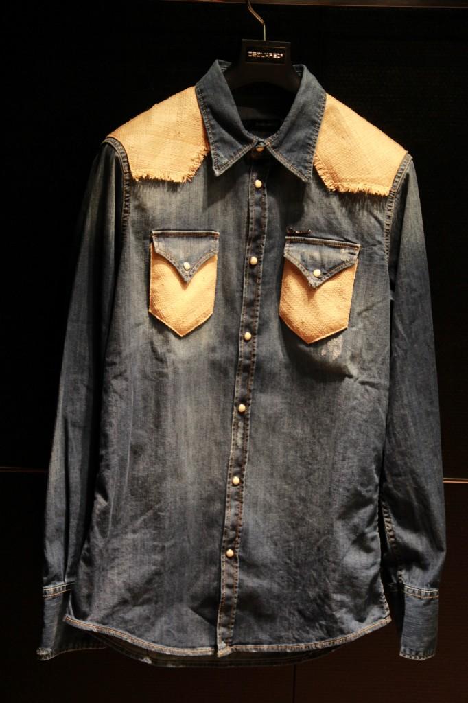 blouson fifties en denim et cuir, 1240 euros