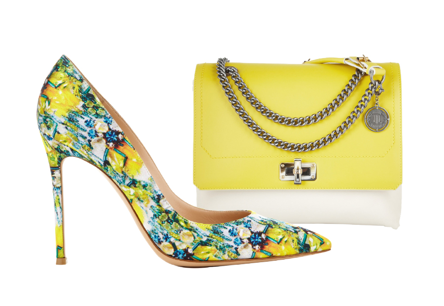 Soulier : Mary Katrantzou Lisa Yellow Bird  430 euros Sac ; Lanvin Sac porté épaule en cuir Happy Medium1490 euros