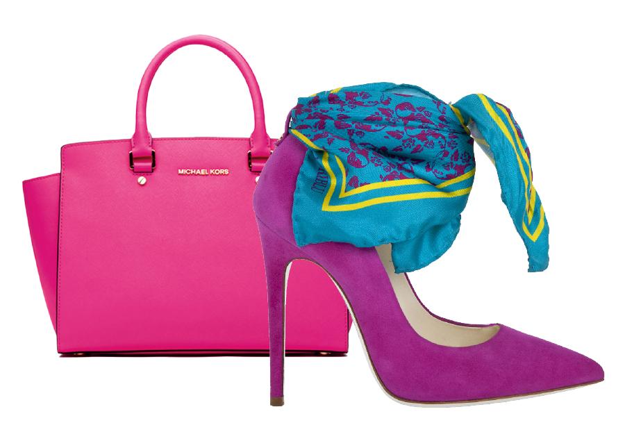Souliers : Loriblu, Chaussures décolletées pointus à talon en peau de chamois fuchsia, avec un foulard multicolore Sac : Michael Kors, Sac Selma en cuir MICHAEL