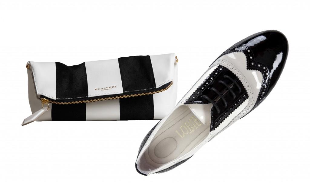 Souliers : Loriblu  Derbies noires et blanches Sac : Burberry Pochette The Petal  en cuir et lin