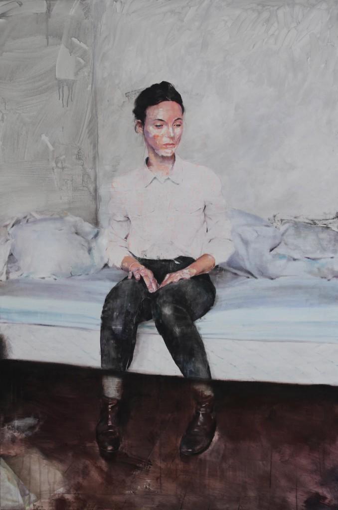 Lou Ros, CL2, acrylique, pastel et huile sur toile, 195x130 cm, 2014 © Courtesy Galerie Guido Romero Pierini