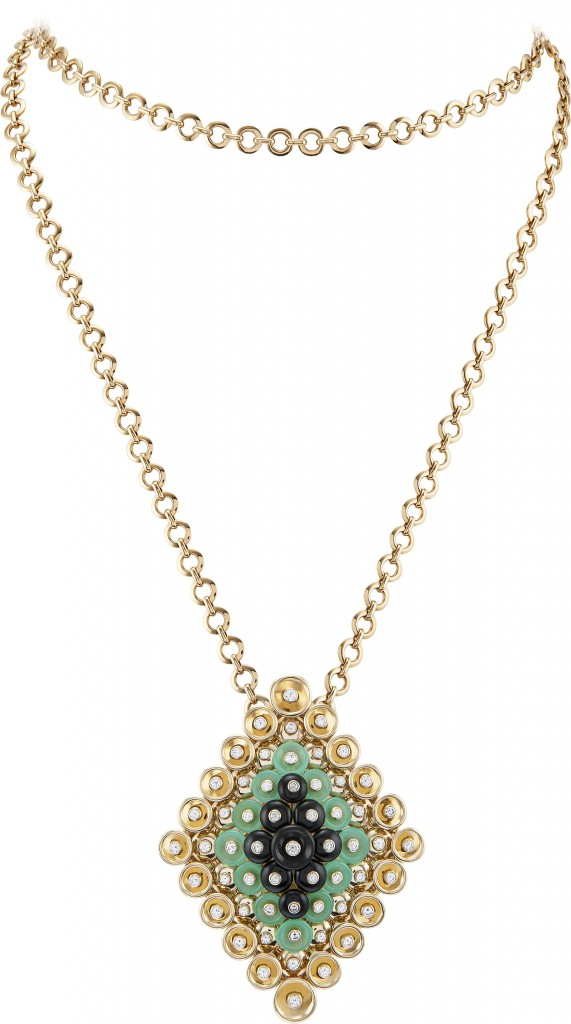 BOUTON D'OR CLIP PENDANT, YELLOW GOLD, ONYX, CHRYSOPRASE AND DIAMONDS