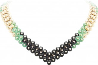 BOUTON D'OR NECKLACE, YELLOW GOLD, ONYX, CHRYSOPRASE AND DIAMONDS