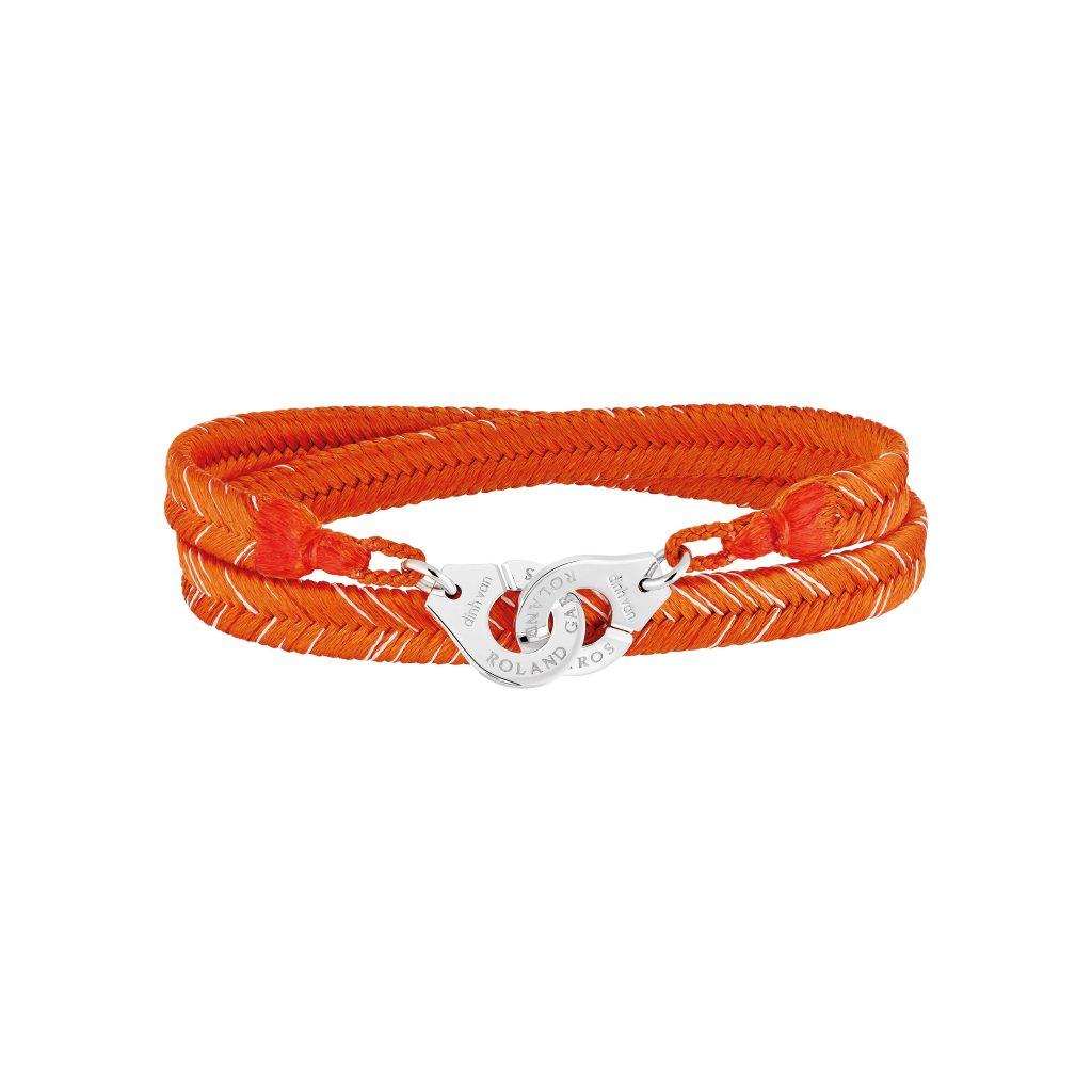RG16 - Bracelet tisse main Roland-Garros par Dinh Van - menottes Dinh Van R12 en argent - coloris Terre battue - 280e