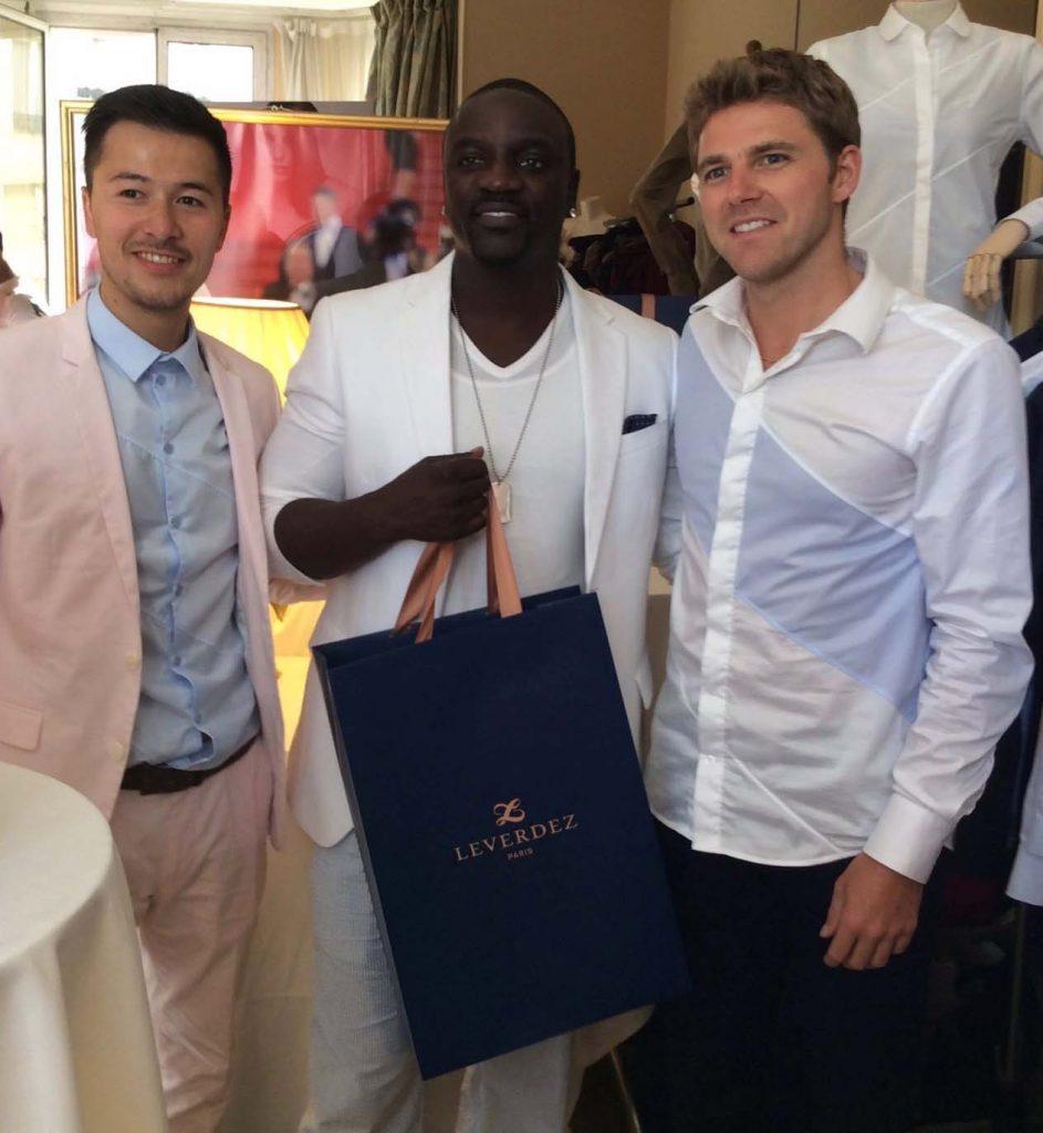 Mathieu Lo Ying Ping designer, Akon et Brice Leverdez. Suite DPA/Carlton. Festival de Cannes 2016.