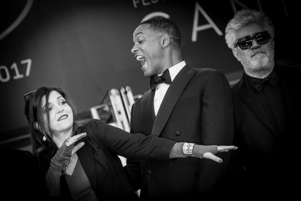 "CANNES, FRANCE - MAY 17: (EDITORS NOTE: Image has been converted to black and white.)  Jury members Agnes Jaoui, Will Smith and President of the jury Pedro Almodovar attend the ""Ismael's Ghosts (Les Fantomes d'Ismael)"" screening and Opening Gala during the 70th annual Cannes Film Festival at Palais des Festivals on May 17, 2017 in Cannes, France.  (Photo by Tristan Fewings/Getty Images)"