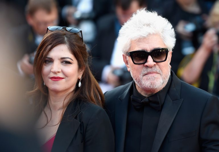 """CANNES, FRANCE - MAY 17:  Jury member Agnes Jaoui (L) and President of the jury Pedro Almodovar attend the """"Ismael's Ghosts (Les Fantomes d'Ismael)"""" screening and Opening Gala during the 70th annual Cannes Film Festival at Palais des Festivals on May 17, 2017 in Cannes, France.  (Photo by Antony Jones/Getty Images)"""