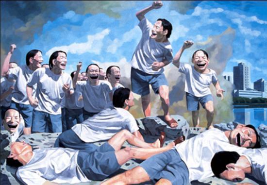 Yue Minjun, 'Liberty Leading the People' (Zi You Yin Dao Ren Min) (1995)