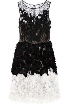 OSCAR DE LA RENTA Chantilly lace and organza dress