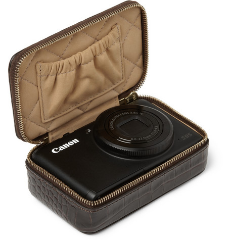 SMYTHSON  CROCODILE-EMBOSSED LEATHER CAMERA CASE