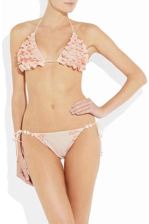 MIU MIU Floral-appliqué triangle bikini, 320,23 €