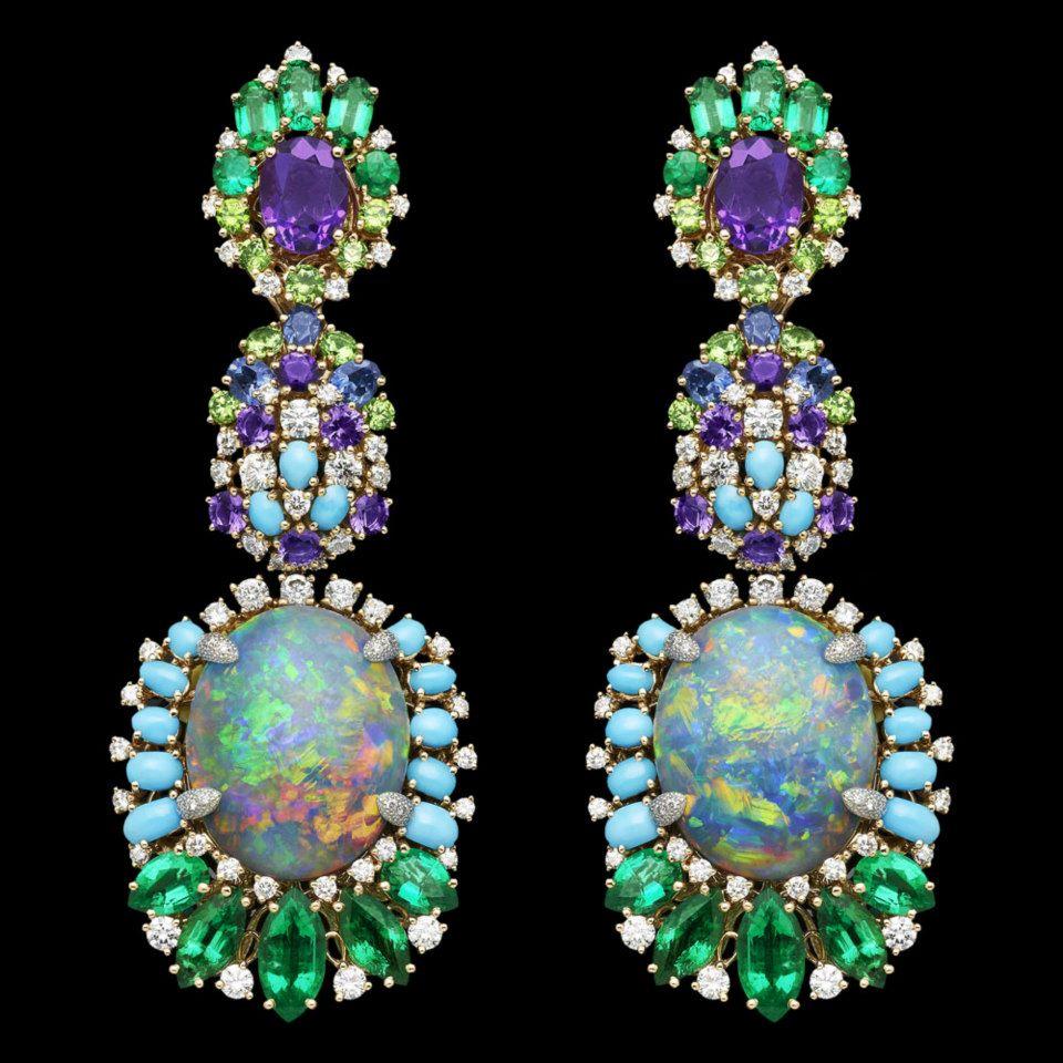 """Boucles d'oreilles Dear Dior """"Résille"""" Bouquet d'Opales boucles d'oreilles"""