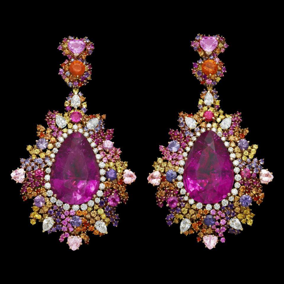 """Boucles d'oreilles Dear Dior """"Guipure Framboise Rebrodée"""""""