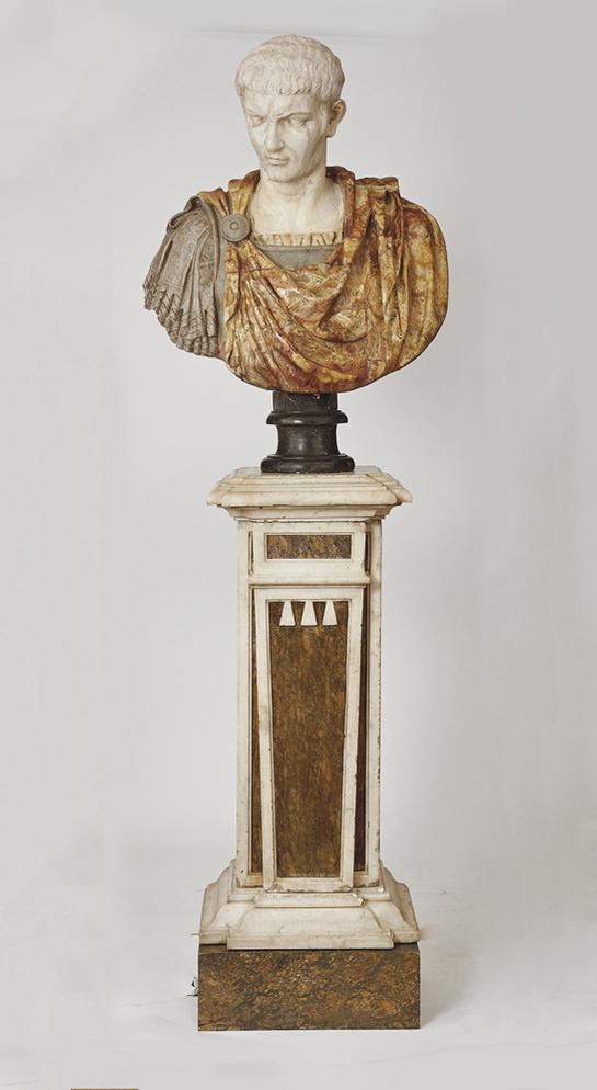 Buste en marbre polychrome représentant Alexandre le Grand, Italie, XVII-XVIIIème siècle.