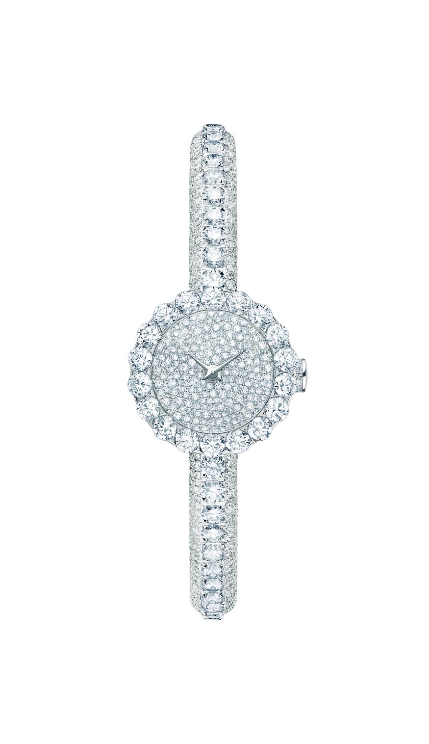 La mini  D de Dior «HAUTE JOAILLERIE» 21 mm quartz - Or blanc et diamants