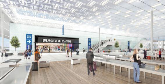 Le nouveau bâtiment de liaison sera orné d'un mur d'eau (au fond, sur l'image) séparant la salle d'accueil de la salle d'embarquement