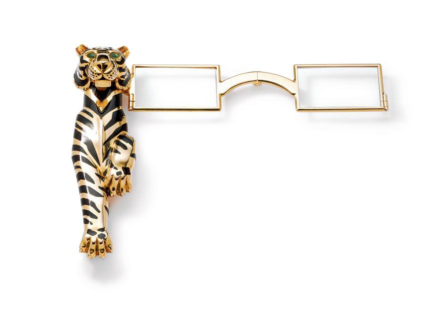 Face à main Tigre Cartier Paris, commande spéciale de 1954, en or