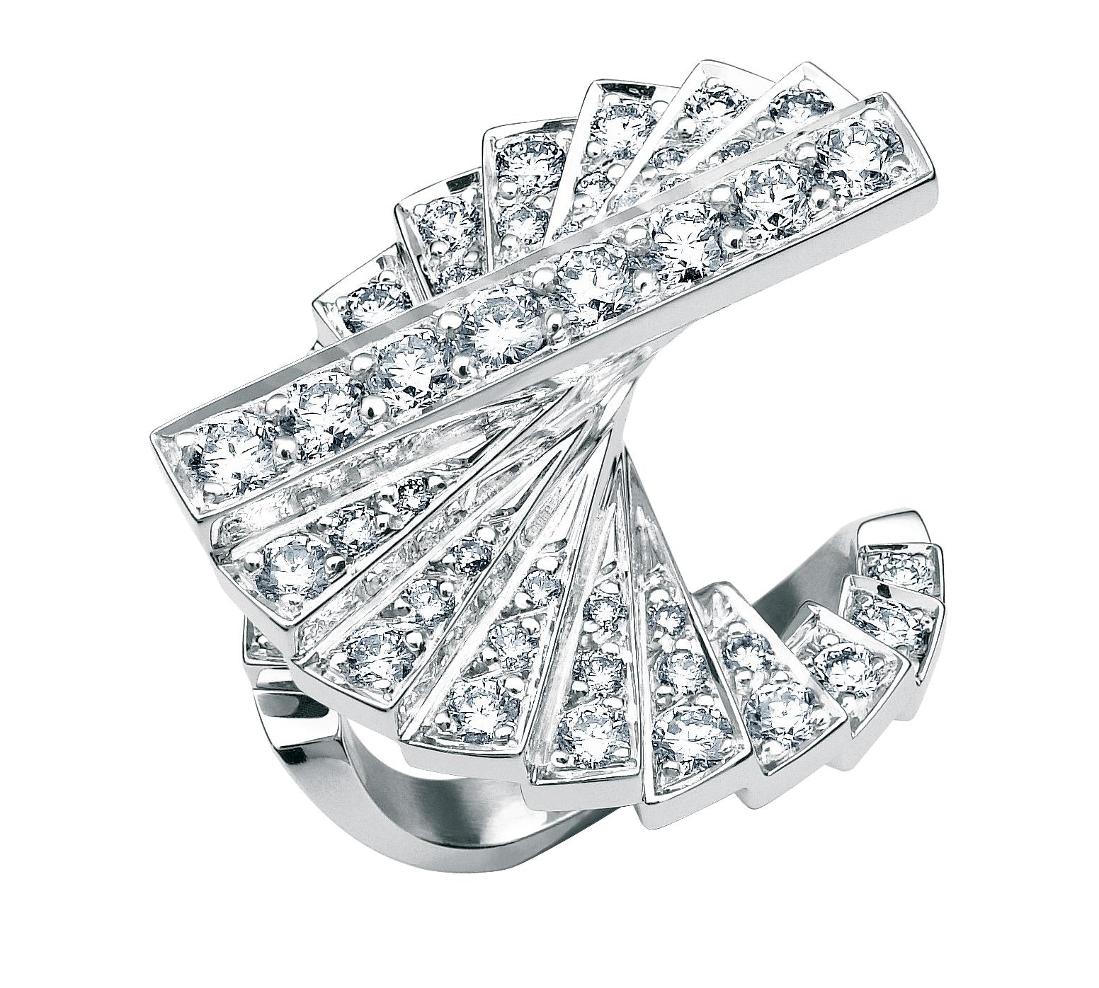 ROURE-COLLECTION ESCALIER-BAGUE DIAMOND INTERNATIONAL AWARD-DIAMANT:OR BLANC
