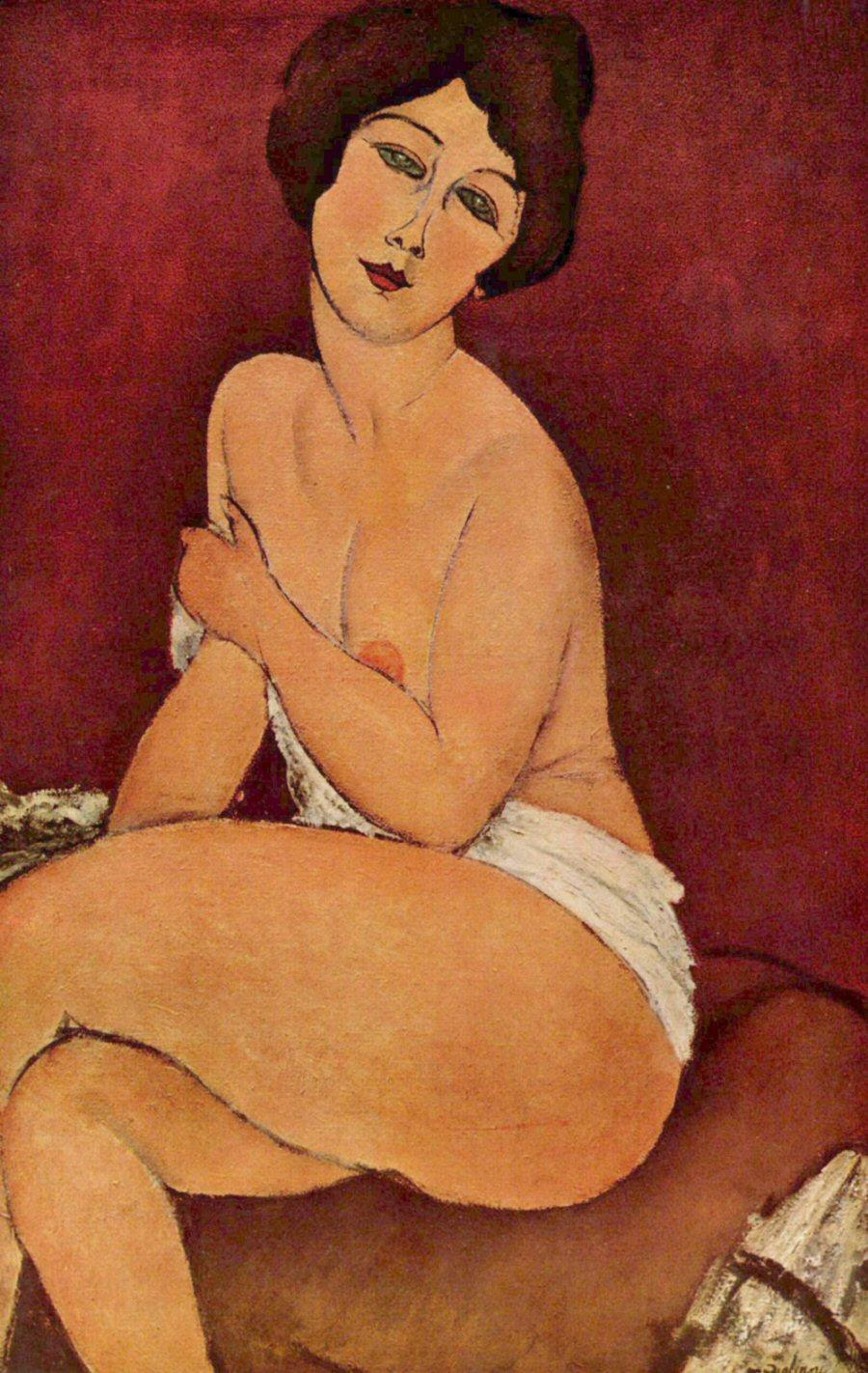 Modigliani_Amedeo-Seated_Nude_on_Divan
