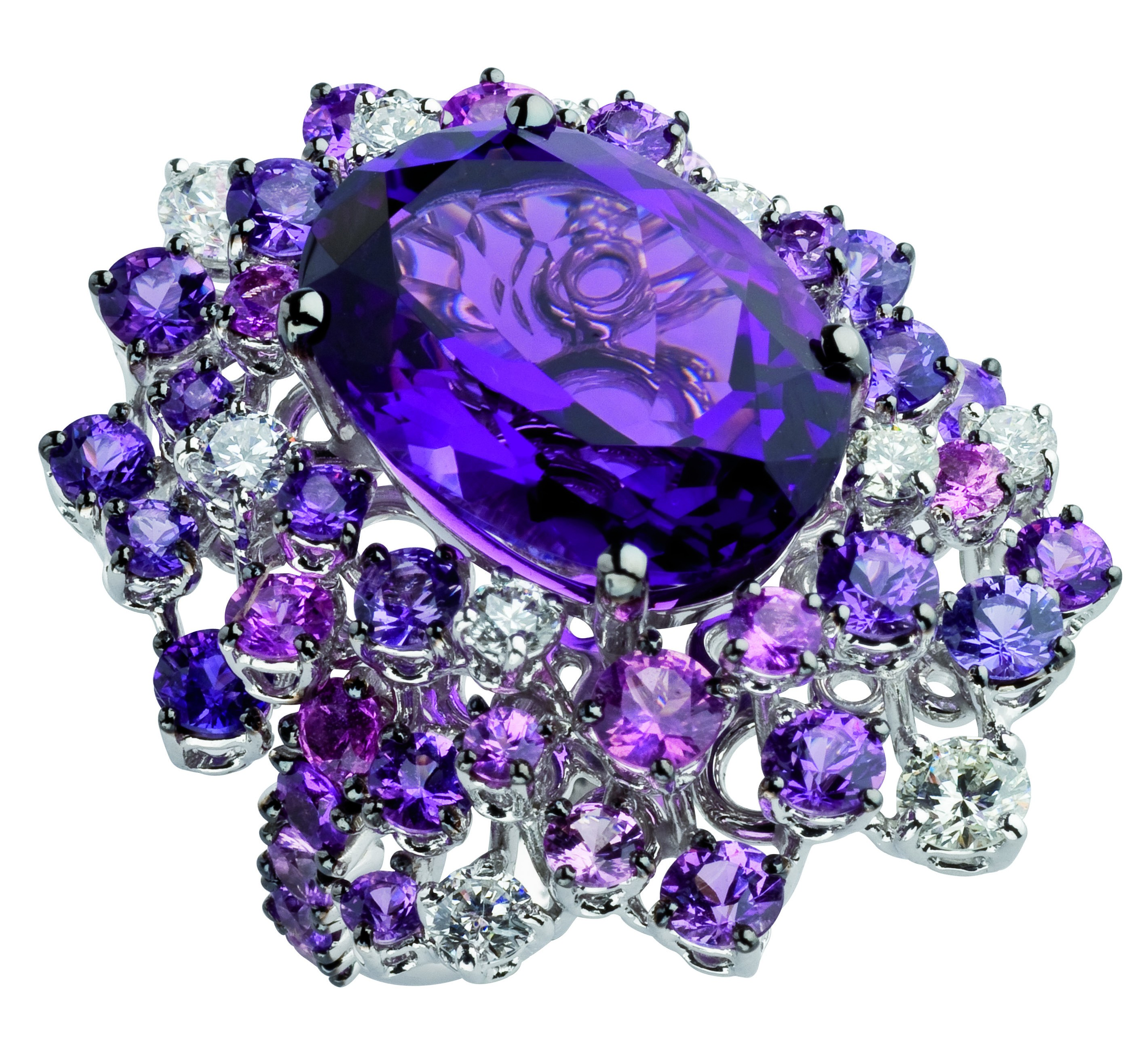 Damiani - Anima masterpiece - ring in white gold with amethystes 20056704
