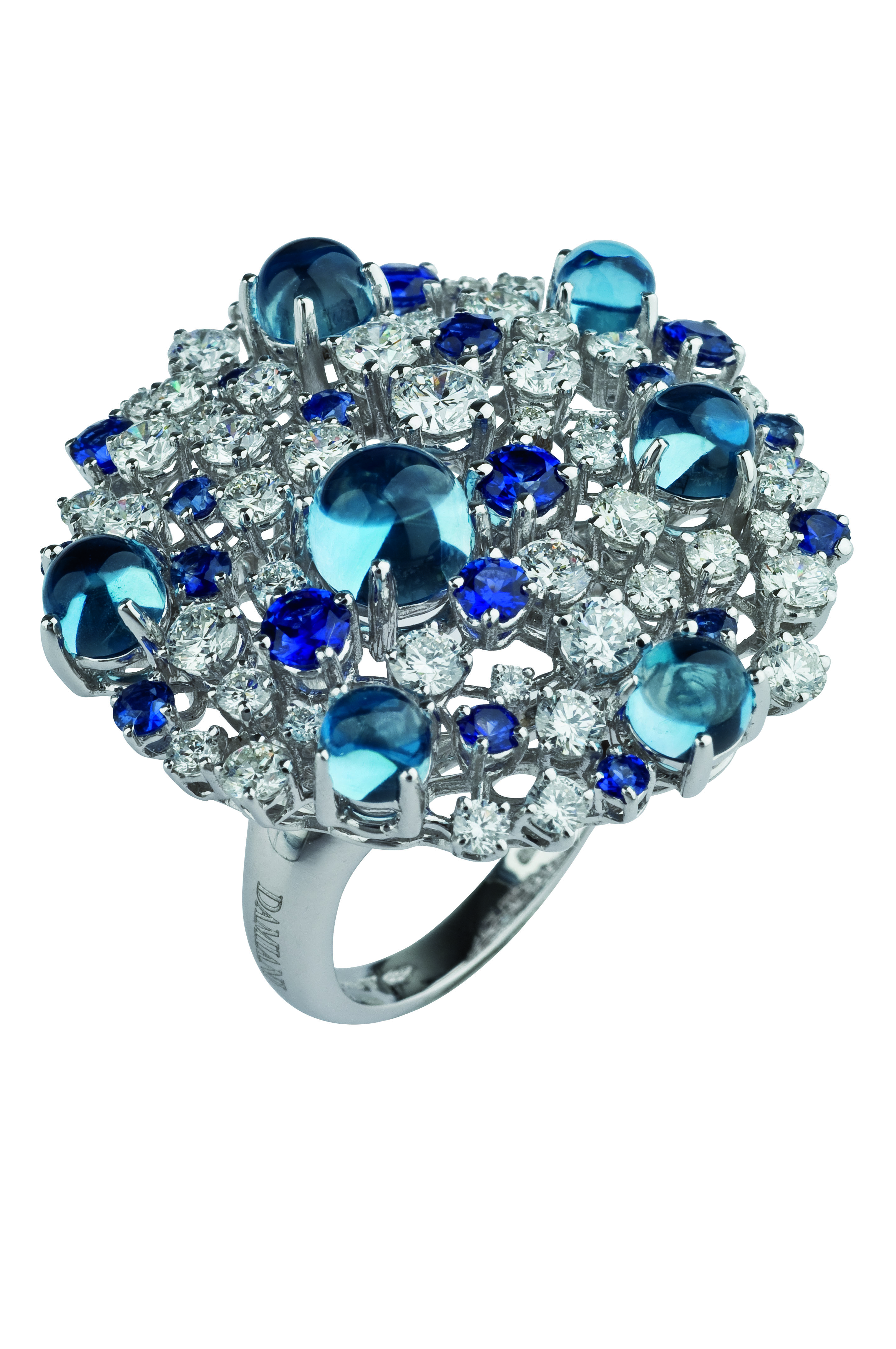 Damiani - Bouquet mastepiece - white gold ring with diamonds, sapphires and topaz 20055155