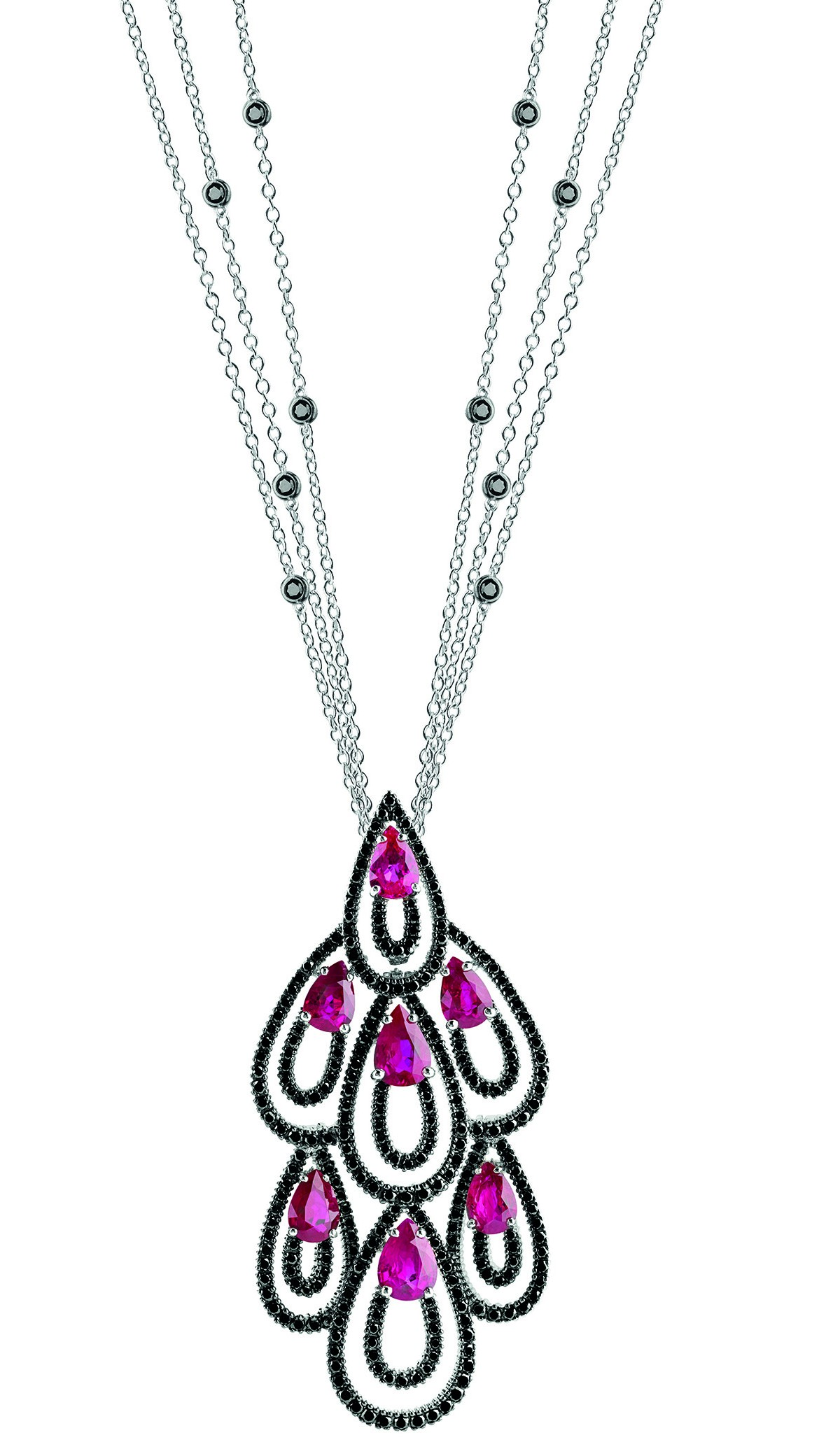 Damiani - Drip Drop masterpiece - white gold pendant with black diamonds and rubies