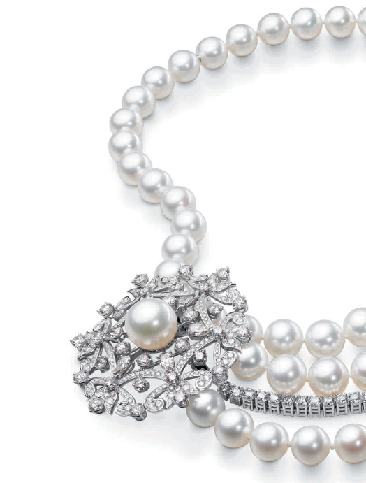 Collier perles et diamants 125 ans