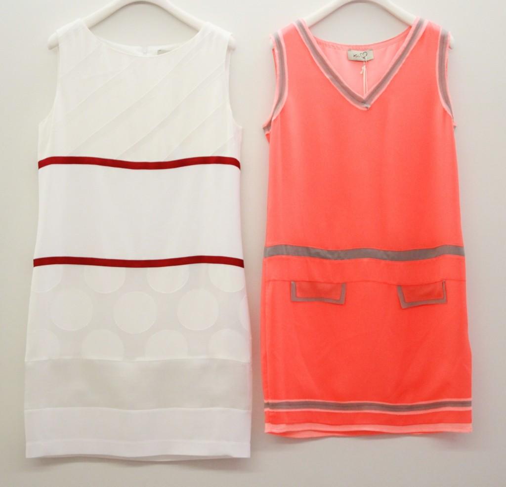robe blanche 241 euros, robe corail 144 euros