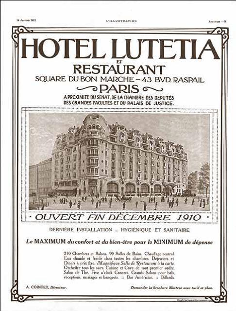 Affiche ouverture HOTEL LUTETIA 1910