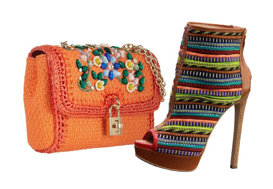 Souliers : Dsquared²  Sac : Dolce & Gabbana, Sac porté épaule en raphia orné de cristaux