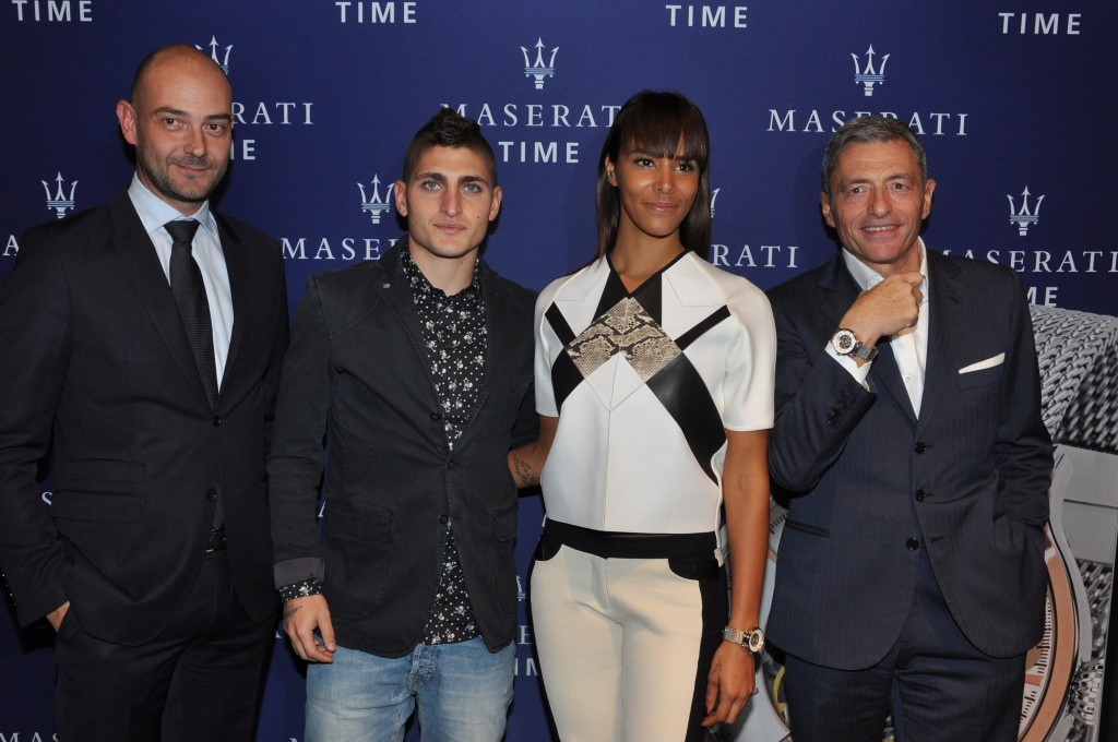 Guido Giovannelli (Directeur Général de Maserati West Europe), Marco Verratti, Shy'm et Massimo Carraro (CEO du Groupe Morellato).