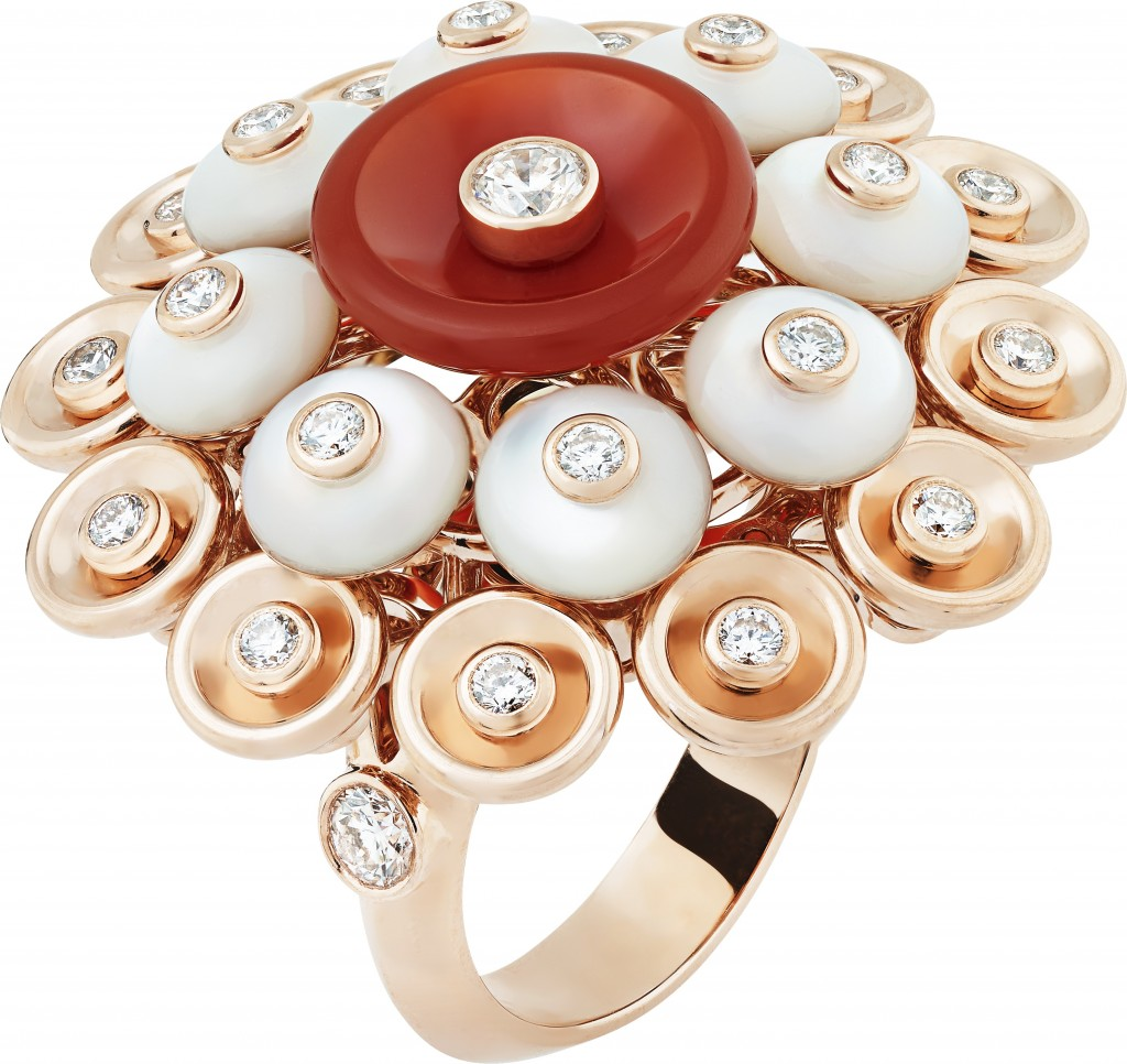 BOUTON D'OR RING, PINK GOLD, WHITE MOTHER OF PEARL, CARNELIAN AND DIAMONDS