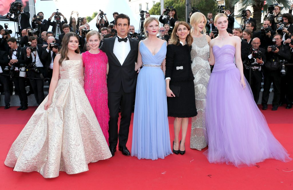 "CANNES, FRANCE - MAY 24:  (L-R) Addison Riecke, Angourie Rice, Colin Farrell, Kirsten Dunst, director Sofia Coppola, Nicole Kidman and Elle Fanning attend the ""The Beguiled"" screening during the 70th annual Cannes Film Festival at Palais des Festivals on May 24, 2017 in Cannes, France.  (Photo by Gisela Schober/Getty Images)"